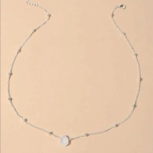 Silver chain crystal water drop chocker necklace